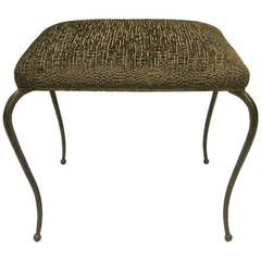 Early Hand-Hammered Stool by René Prou, circa 1928 Made in France