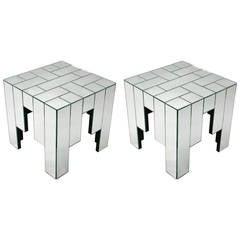 Pair of Mirrored Side Tables by Jacques Grange for Carl, circa 1970, France