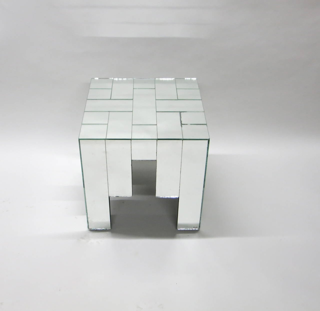 Pair Of Mirrored Side Tables By Jacques Grange For Carl Circa  # Table Grange France