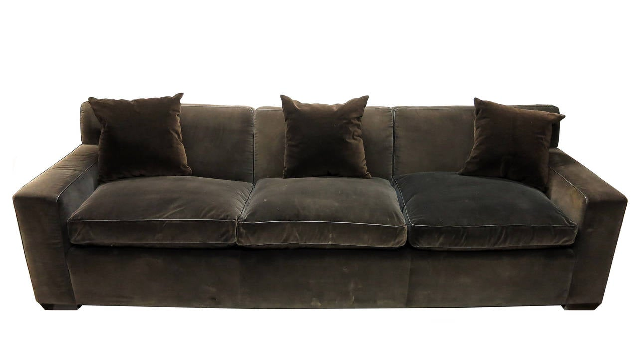 custom made sofa in brown velvet made 1990 by jonas nyc at