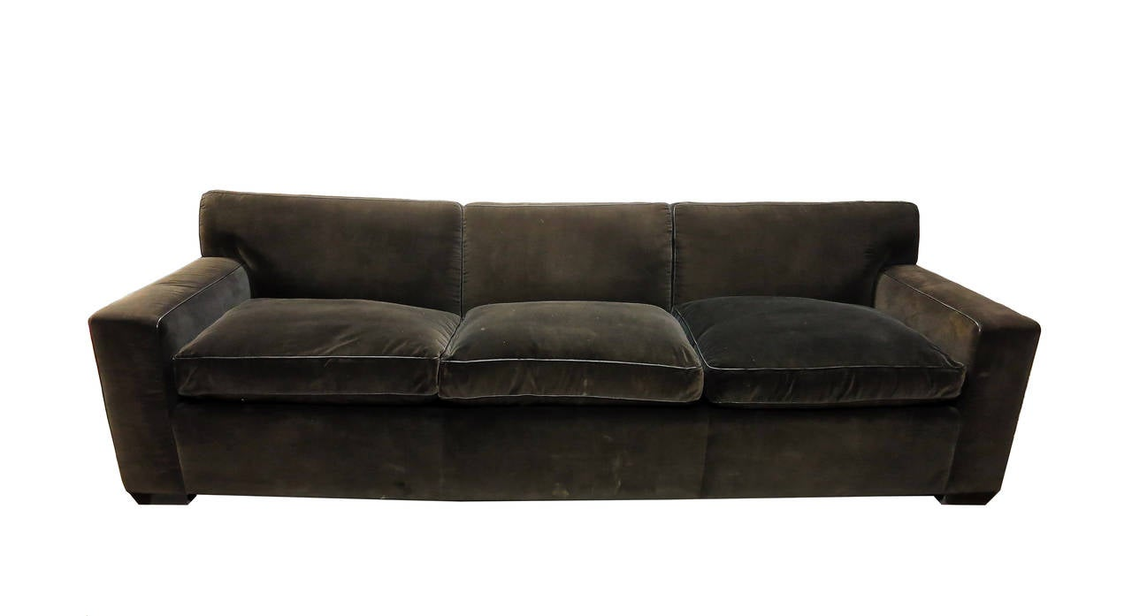 Custom made sofa in brown velvet made 1990 by jonas nyc at for Sofas in nyc