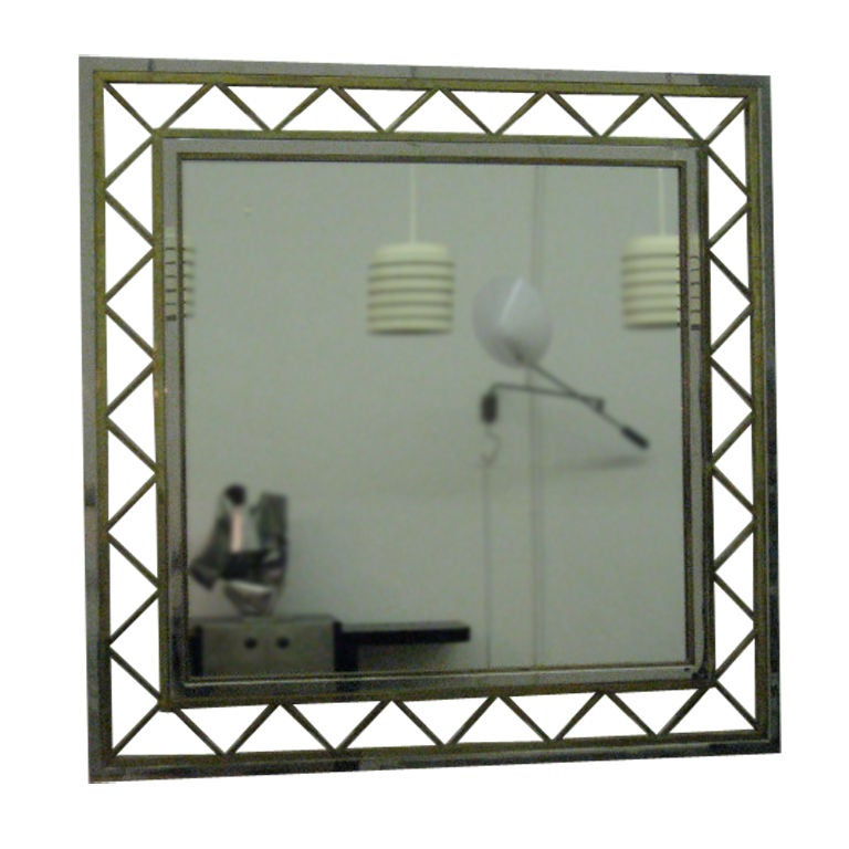 Large square french mirror of brass and chrome at 1stdibs for Large square mirror