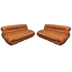 Pair of Settees by Tobia Scarpa for Cassina Soriana 1976 Original Leather Italy