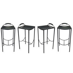 Set of Four Stools by Maurizio Peregalli Signed Zeus, circa 1980, Italy