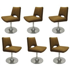 Set of Six Dining Chairs by Roger Tallon France 1970's