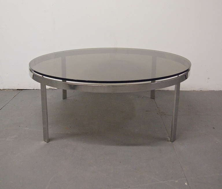 Coffee table round smoked glass top circa 1970 usa at 1stdibs for 13 inch round glass table top
