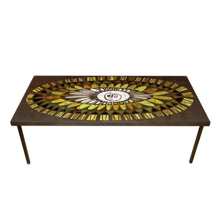 Roger Capron Ceramic Tile Coffee Table At 1stdibs