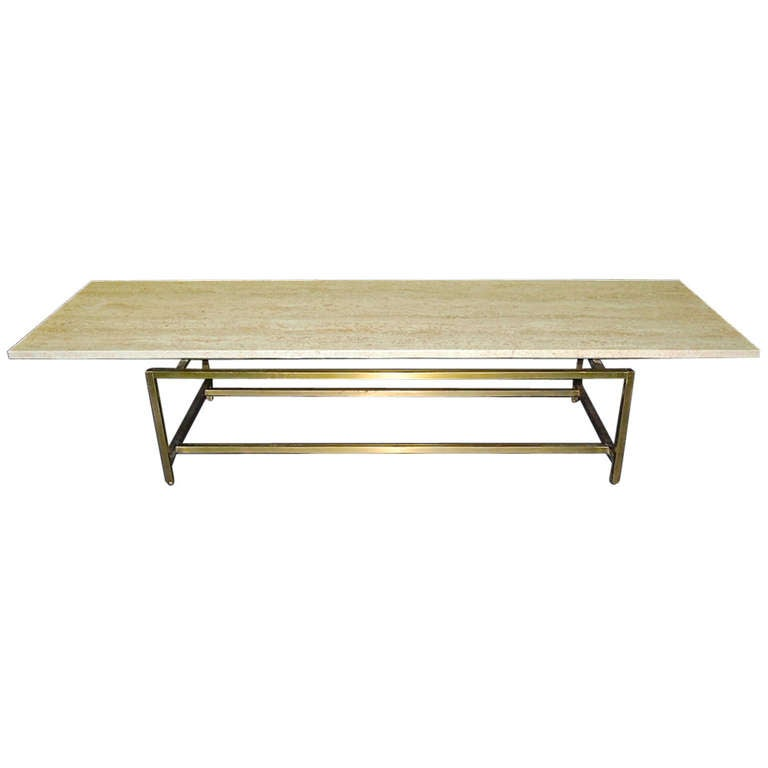 Coffee Table With Six Foot Travertine Top After Paul McCobb Circa 1960