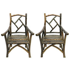 Pair of Solid Bark Chairs, USA Purchased in the 1990s