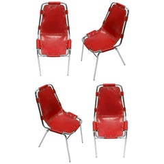 Four Rare Red Chairs Designed by Charlotte Perriand, France Circa 1955