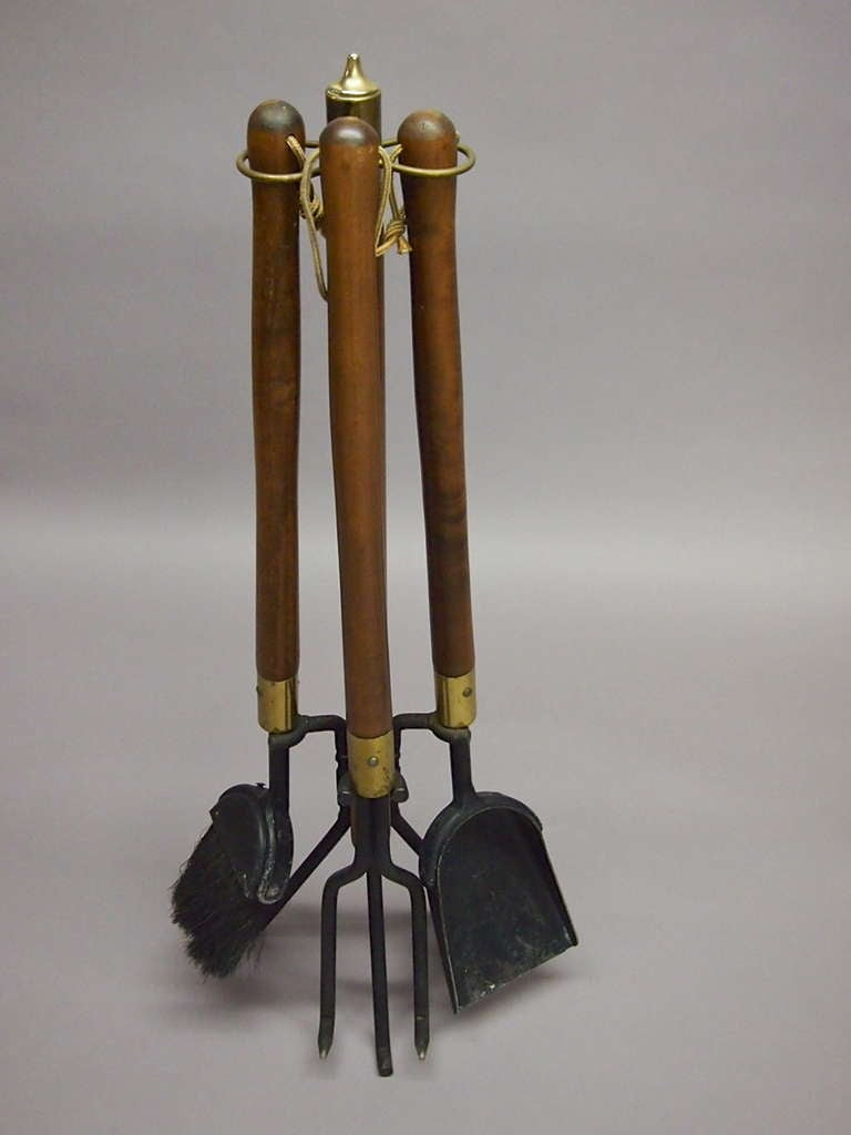 set of fireplace tools with log holder signed seymour