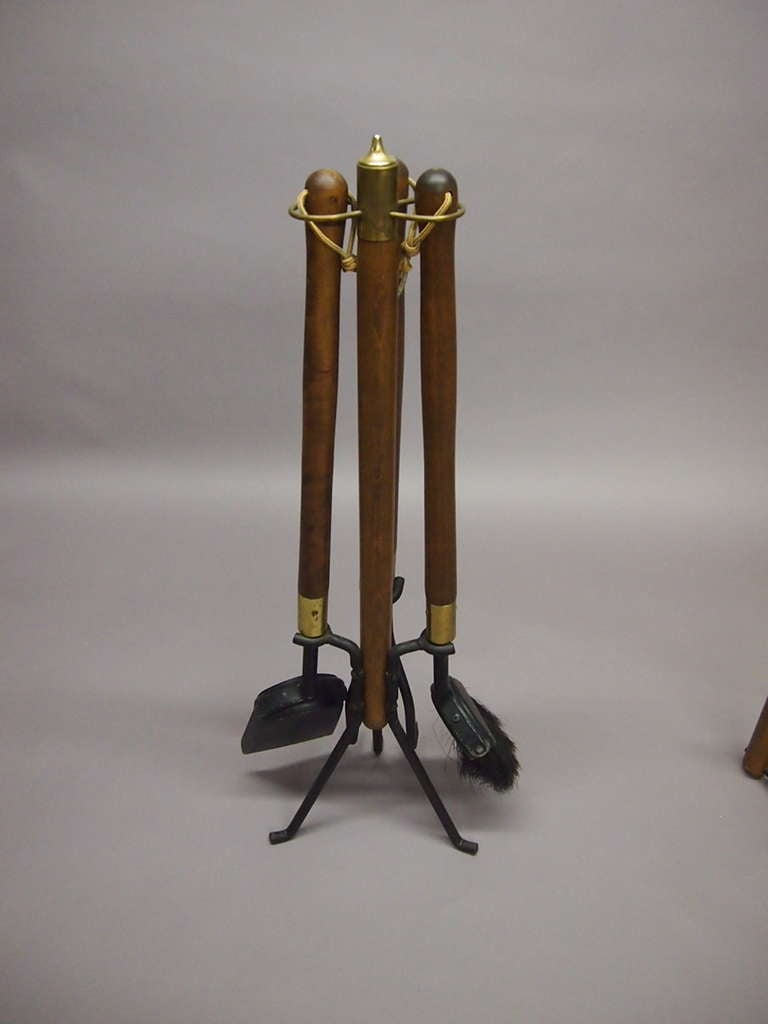 set of fireplace tools with log holder signed seymour circa 1940