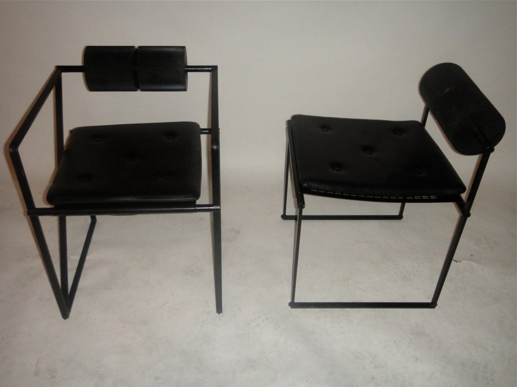 Eight Dining Chairs 2 Arm 6 Side By Mario Botta Circa 1980