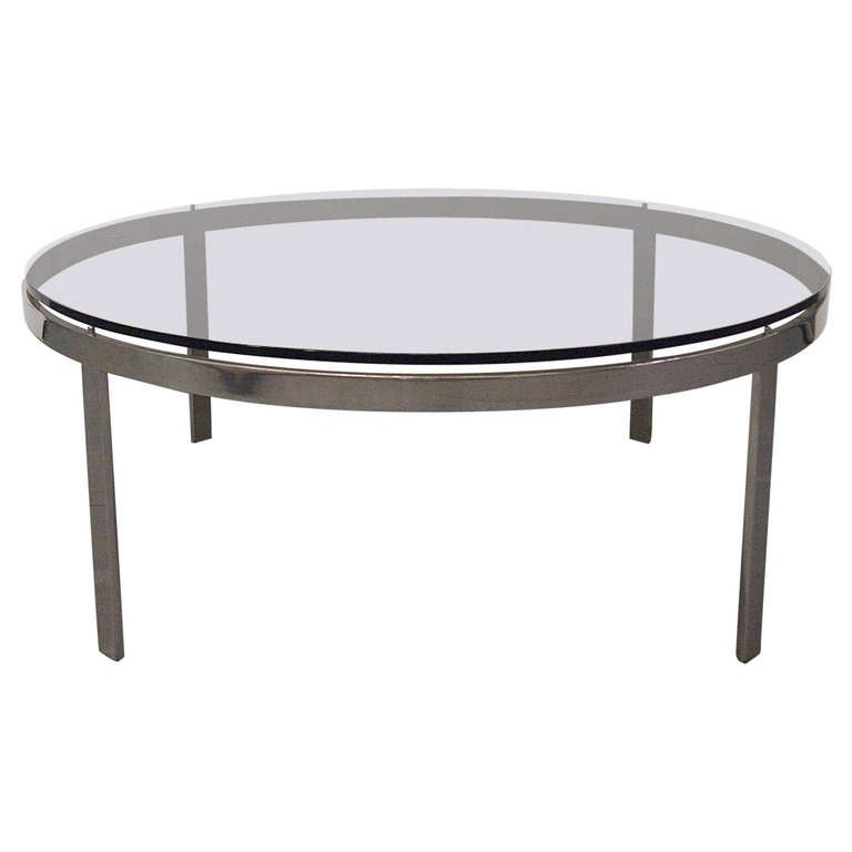 coffee table round smoked glass top circa 1970 usa at 1stdibs