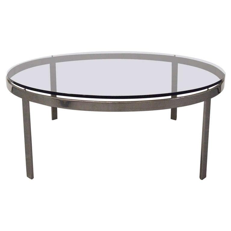 Coffee Table Round Smoked Glass Top Circa 1970 Usa At 1stdibs