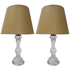 Pair of Clear Solid Glass Table Lamps Signed Archimede Seguso Murano 1960 Italy