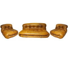 "Three Piece set of ""SORIANO"" Seating by Tobia Scarpa c1970 Italy"