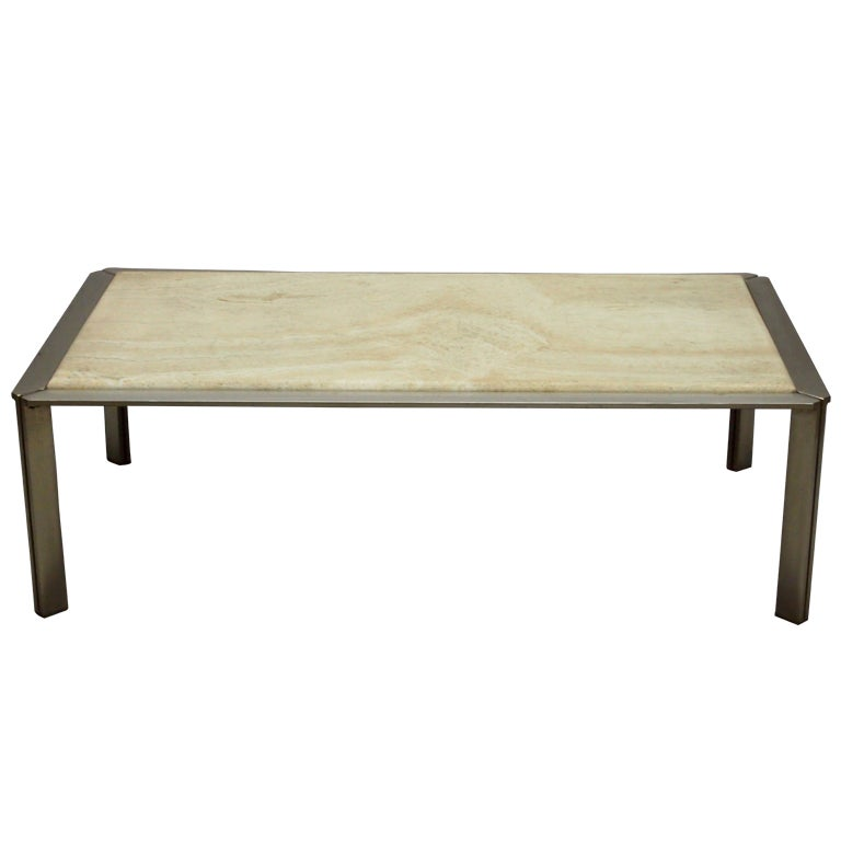 Coffee Table With A Travertine Top Circa 1960 France