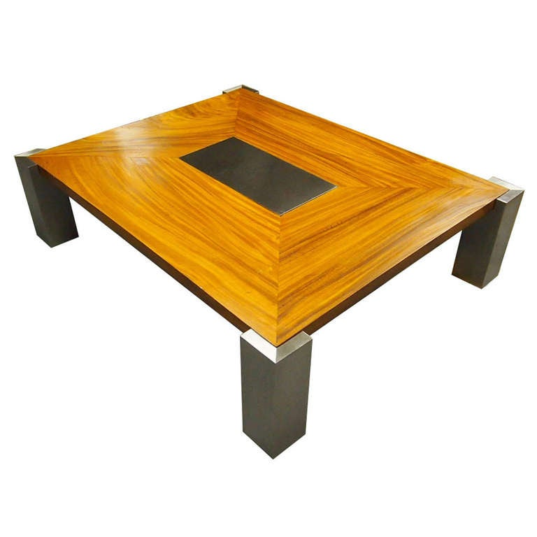 Custom Coffee Table In Solid Wood And Steel Made In 1978 Nyc At 1stdibs