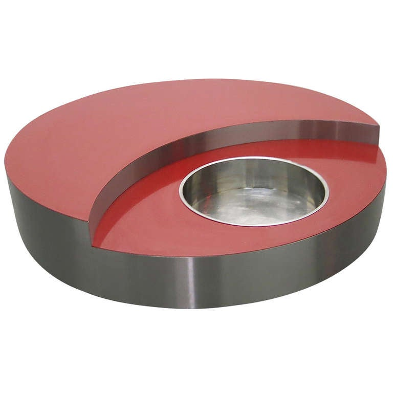 Round Red Coffee Table: Round Red Revolving Coffee Table Designed By Willy Rizzo