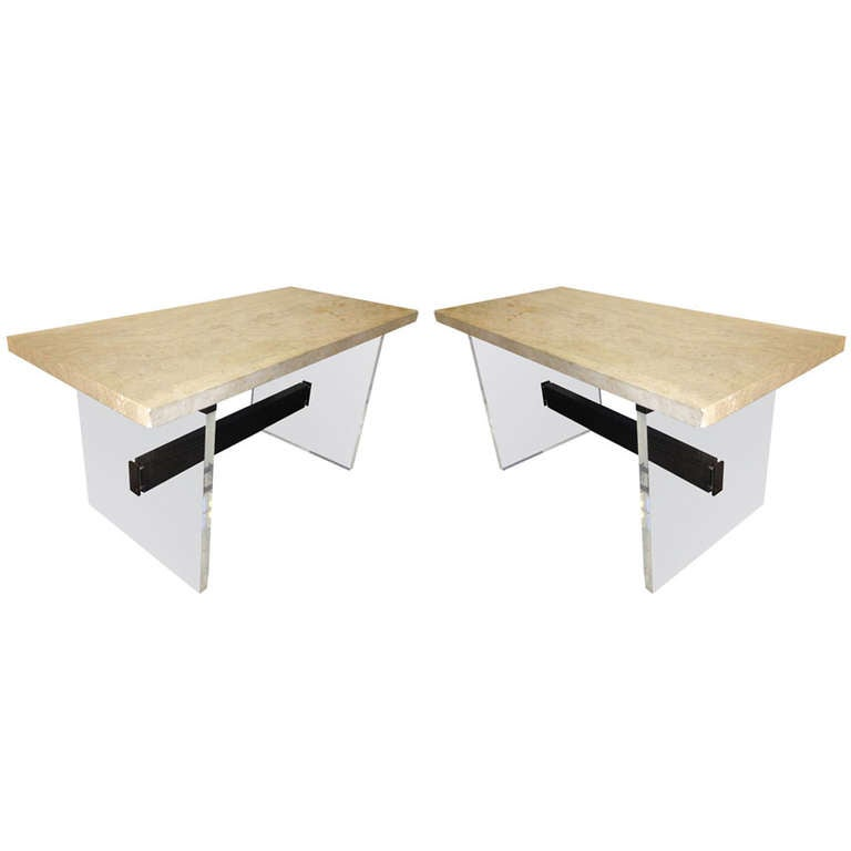 Pair of Stone Top Console Tables, France, circa 1960