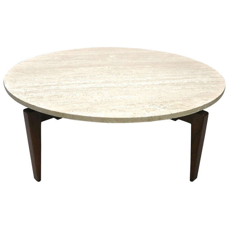 Rotating coffee table labeled jens risom design inc circa for Revolving end table