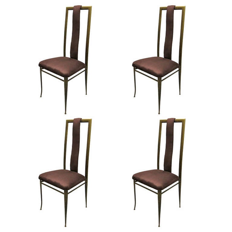 Set Of Four Dining Chairs Marked Made In Italy Circa