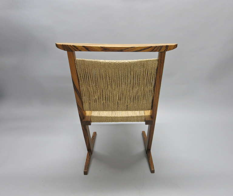 Pair Of Zebra Wood Chairs By Richard Rothbard Usa 1960s