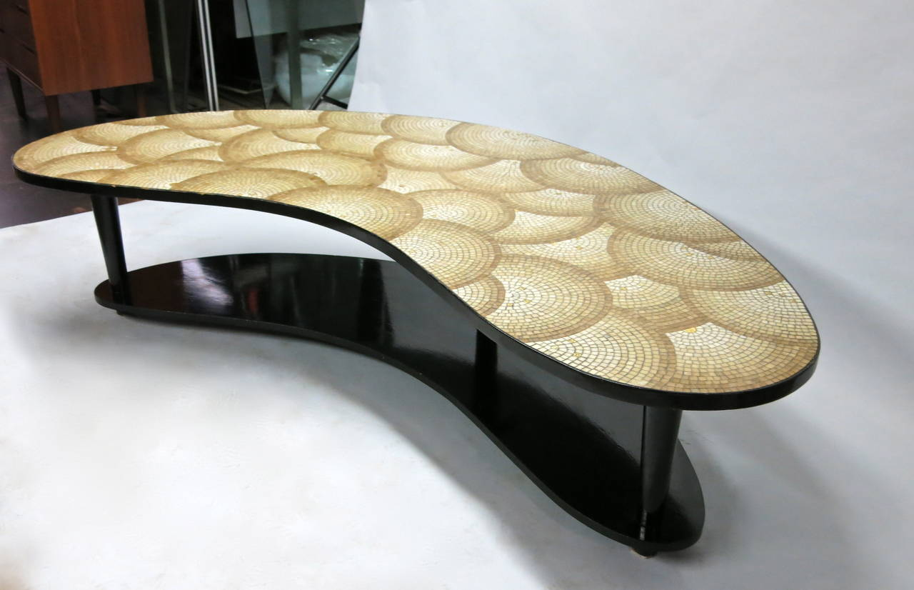 Kidney Shaped Coffee Table With Mosaic Top In Gold Tone Tesserae Circa 1940 At 1stdibs