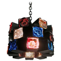 Ceiling fixture of colored Glass block by Fedder circa 1960 Mexico