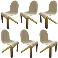 "Six ""Presto"" Chairs by Jean Louis Berthet Labeled Mobilier National France 1977"
