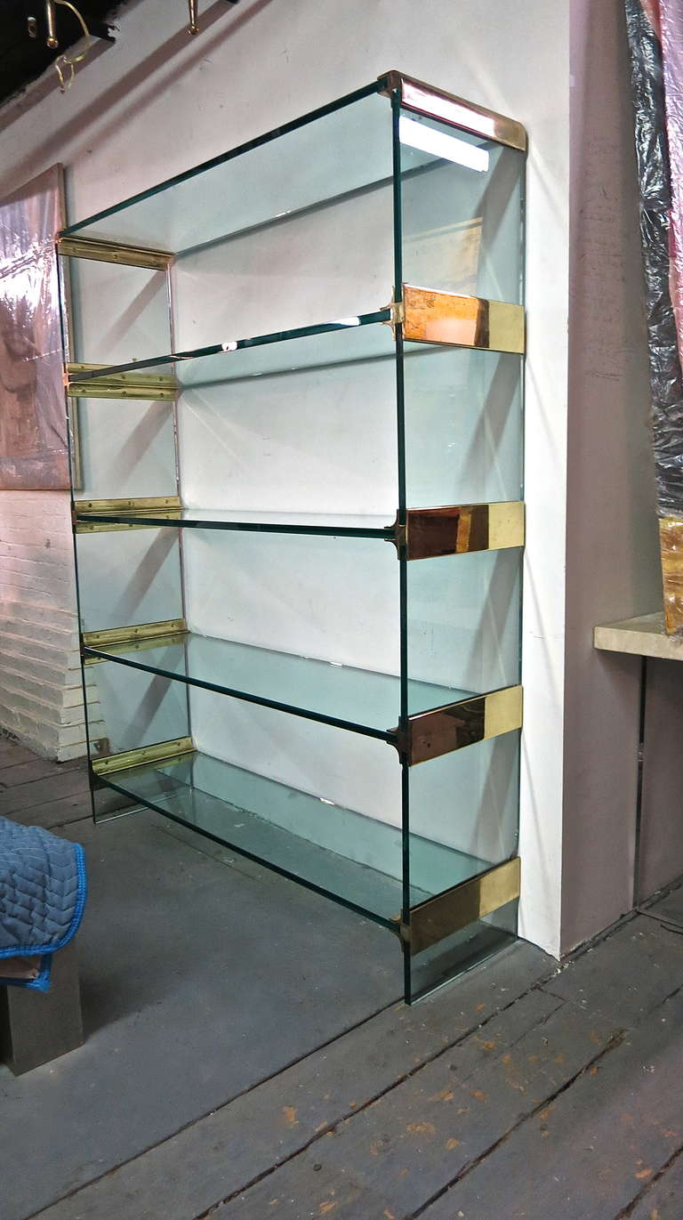 Wall Unit with Glass Shelves by Pace, circa 1980, USA at 1stdibs