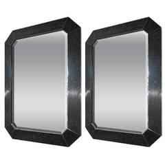 Pair of Beveled Mirrors with Black Stone by Maitland Smith, circa 1975