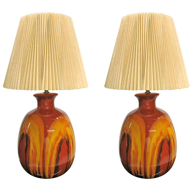 of ceramic table lamps with original shades made in usa circa 1960s. Black Bedroom Furniture Sets. Home Design Ideas