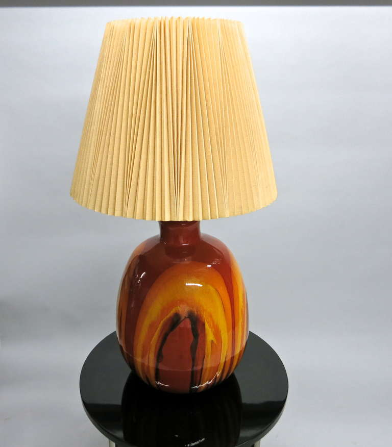 pair of ceramic table lamps with original shades made in usa circa. Black Bedroom Furniture Sets. Home Design Ideas
