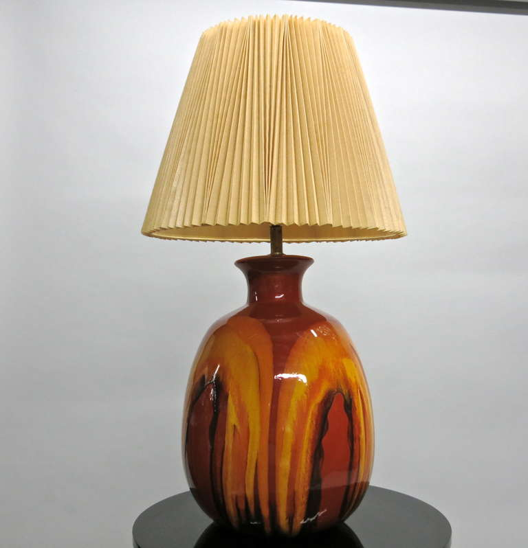 Similiar Lamp Shade USA Keywords:Pair of Ceramic Table Lamps with Original Shades, Made in USA, circa,Lighting
