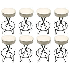 Set of Eight Swivel Stools by Paul Tuttle, circa 1950 Made in USA