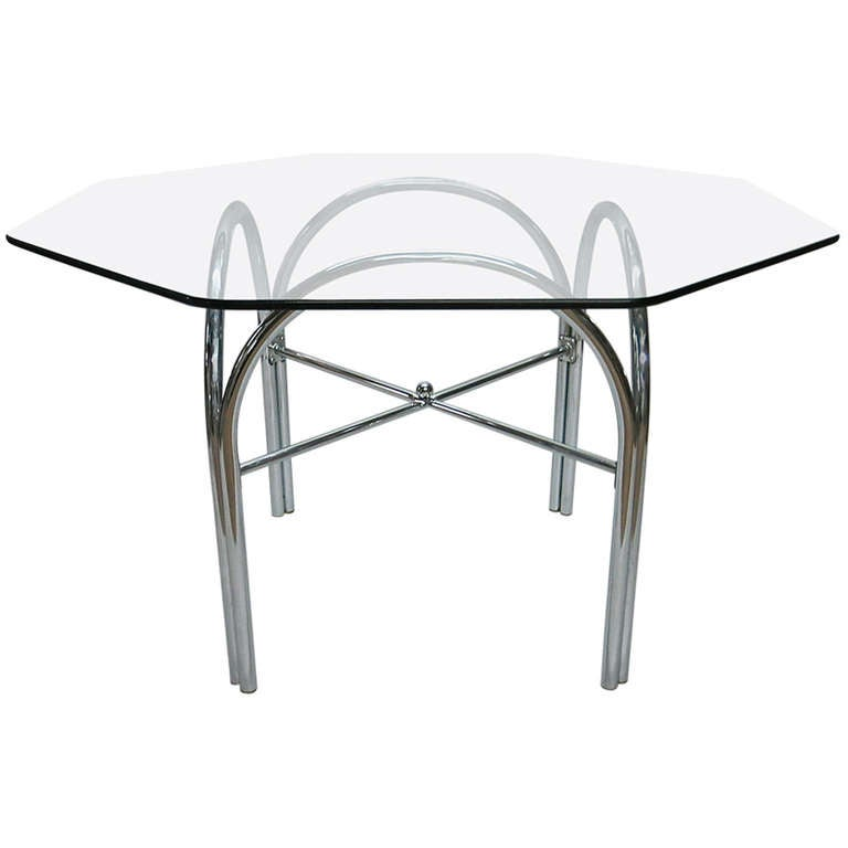 Outdoor Dining Table With Octagonal Glass Top At 1stdibs
