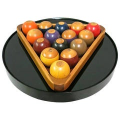 Set of Wooden Billiard Balls, USA Circa 1965