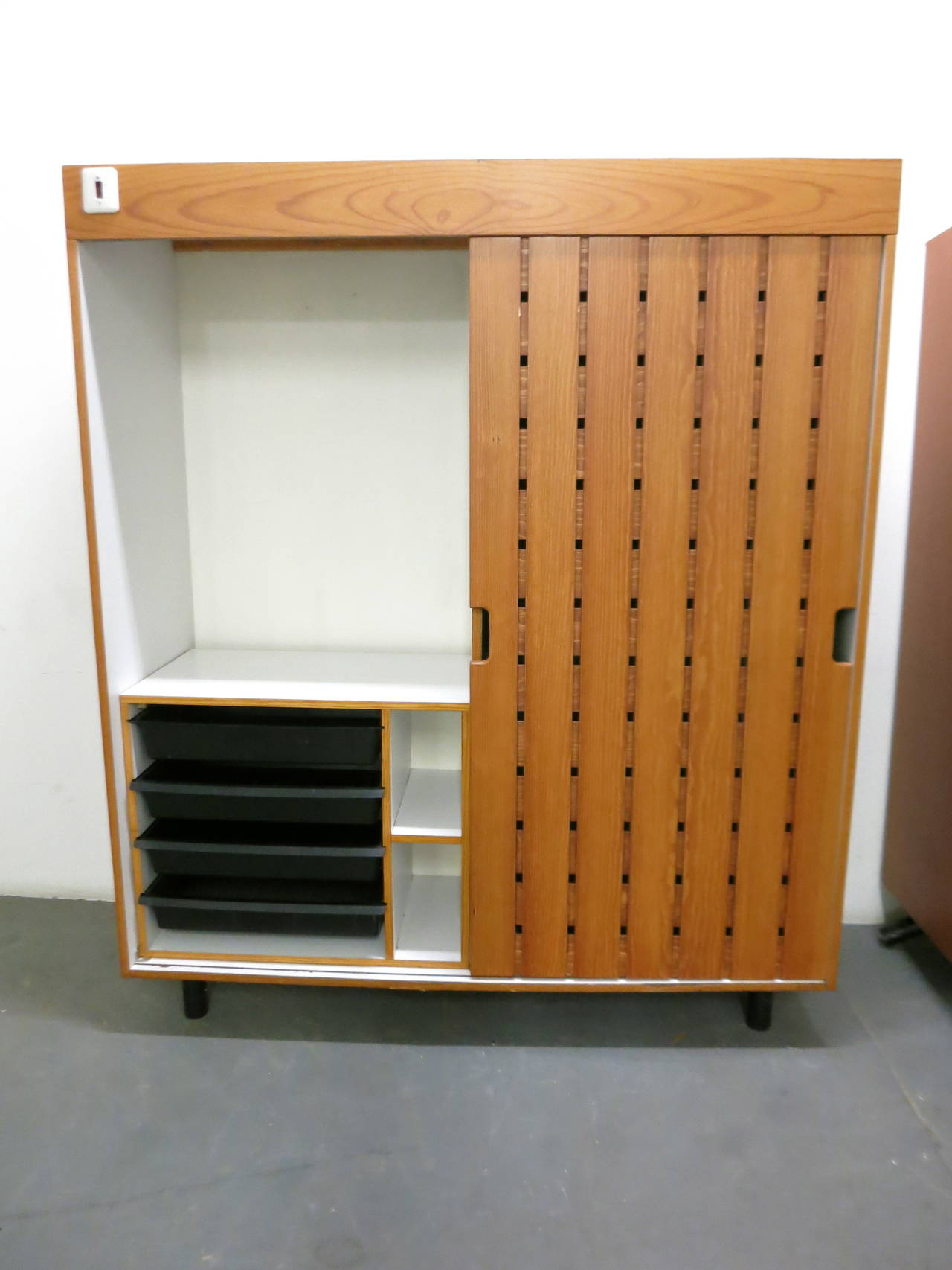 Mid-Century Modern Pair of Wardrobes by Charlotte Perriand, in 1967 for Les Arc Ski Lodge, France For Sale