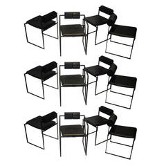 12 Dining Chairs Designed by Mario Botta manufactured by Alias circa 1980 Italy