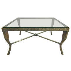 Square Coffee Table In Solid  Cast Bronze Signed Chadoff Circa 1970 American