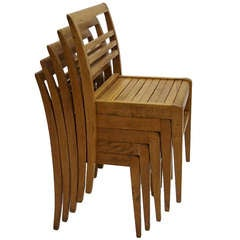 Set of Six Stacking Chairs by Rene Gabriel France 1950's