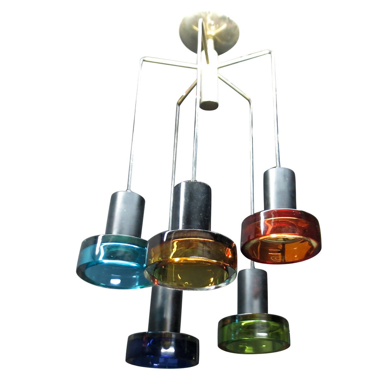 Colored Glass Ceiling Fixture by Flavio Poli for Seguso, Italy Circa 1950