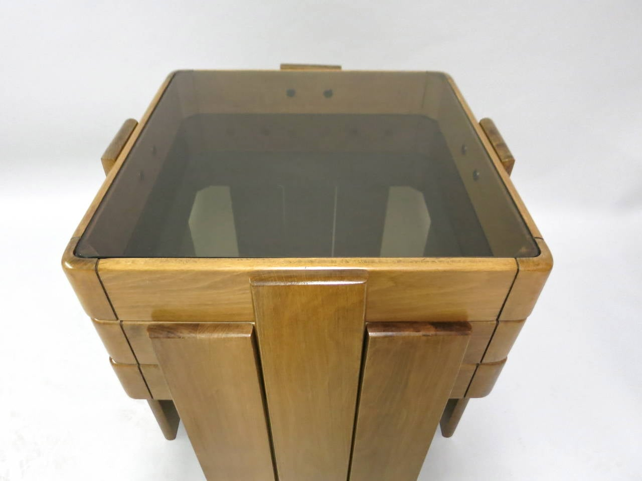 Set Of Stacking Tables With Smoked Glass Tops Circa 1960