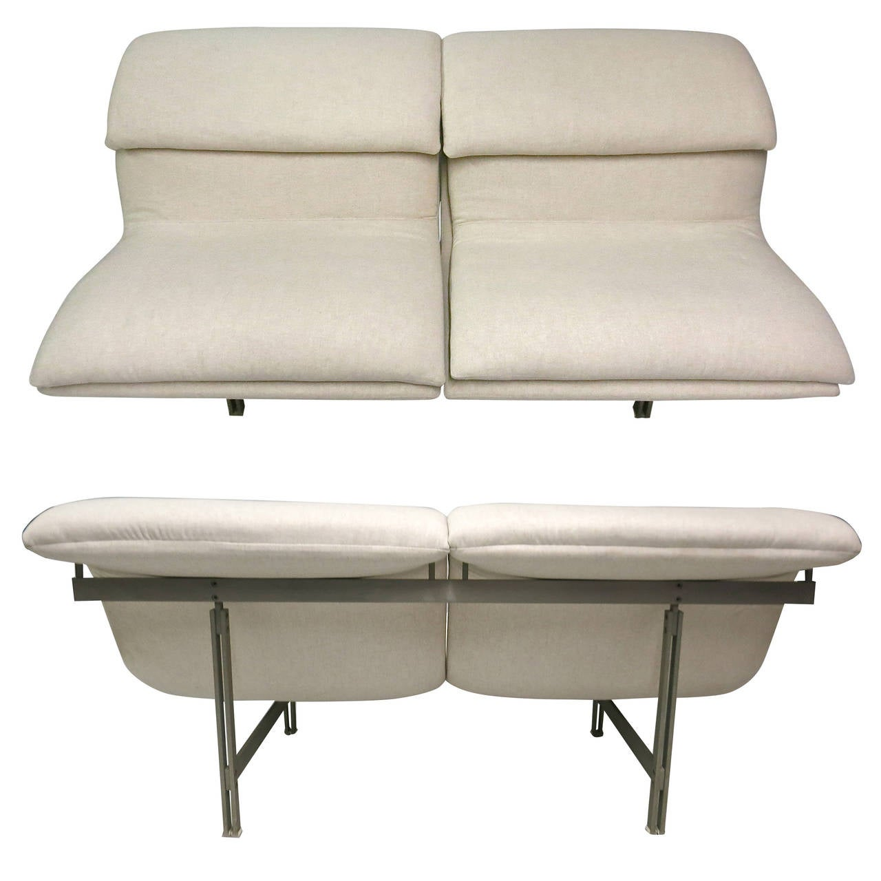 Pair of Two-Seater Sofas by Saporiti Fabricated by Saporiti Italia, Circa 1970 For Sale