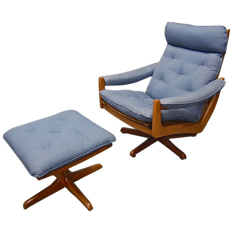 Swivel Chair and Ottoman by Vatne Mobler Norway 1960u0026#39;s at 1stdibs