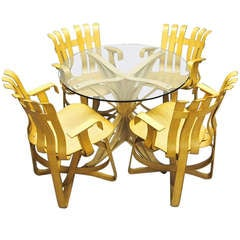 Dining Table & 4 Armchairs by Frank Gehry for Knoll Signed & Dated 1994 USA