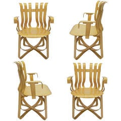 4 Hat Trick Chairs with Arms designed by Frank Gehry for Knoll designed 1992 USA
