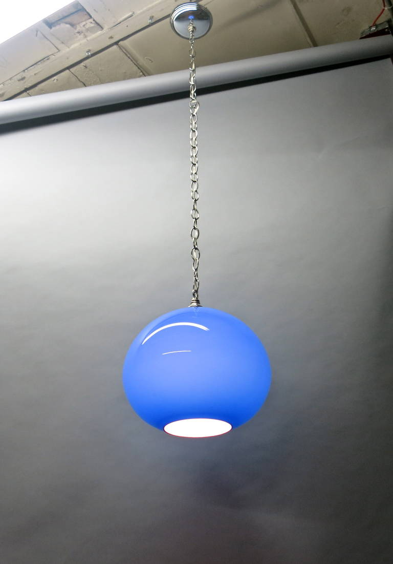 Ceiling Light Hanging Chain : Vintage goblet shaped glass ceiling pendant light on a